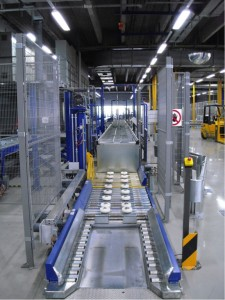 Uitgiftelijn van pallets voor elektropallettrucks