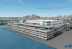 Een weergave van Sunset Industrial Park, een vier verdiepingen tellend 1,3 M SF-magazijn gepland in Brooklyn. Foto: Bridge Development Partners / DH Property Holdings.